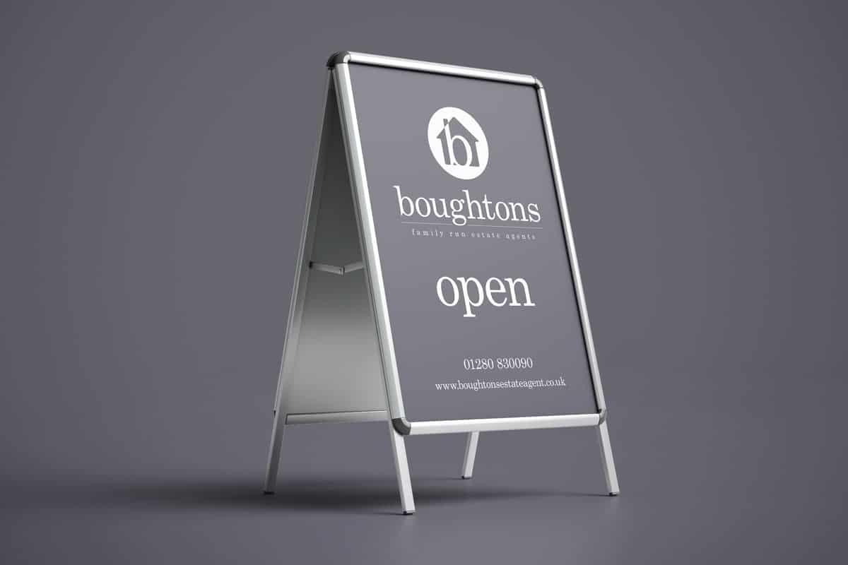 Boughtons advertising swing boards