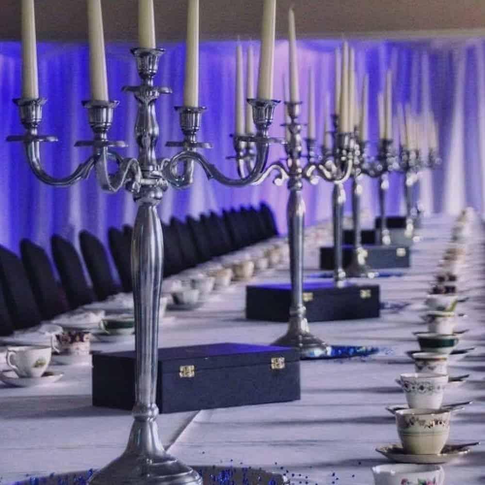 Candelabra wedding table centres