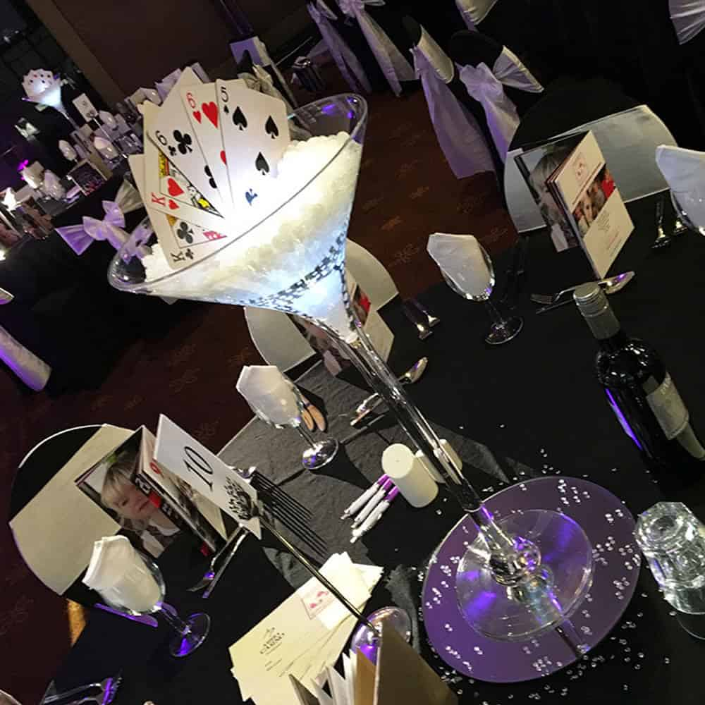 Corporate event table centrepieces
